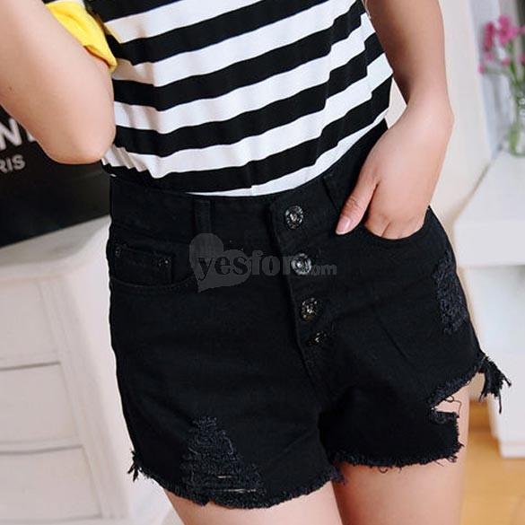 Black Women Fashion High Waist Shorts Jeans Hole Short Denim Pants Size M, unit price of $12.21 only - Yesfor.com