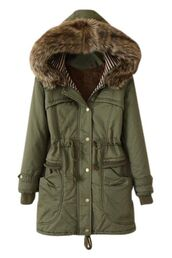 coat,green parka,hooded parka,drawstring waist,fur lined hood,warm coat,winter coat,www.ustrendy.com