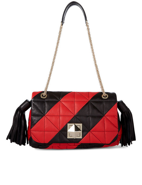 quilted bag leather red print