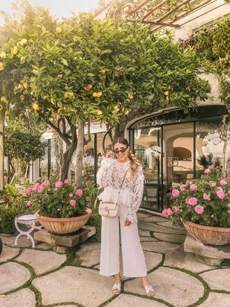 stephanie sterjovski - life + style blogger top shoes scarf jewels sunglasses bag gucci bag crossbody bag slide shoes white pants lace top spring outfits