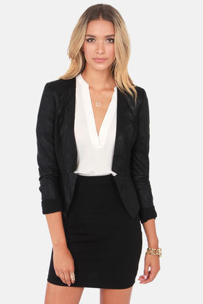 Cute Black Blazer - Vegan Leather Blazer - Mesh Blazer - $85.00