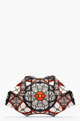 Alexander McQueen Navy Satin Stained Glass Print De Manta Clutch for women | SSENSE