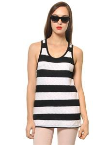 Light cotton jersey striped tank top
