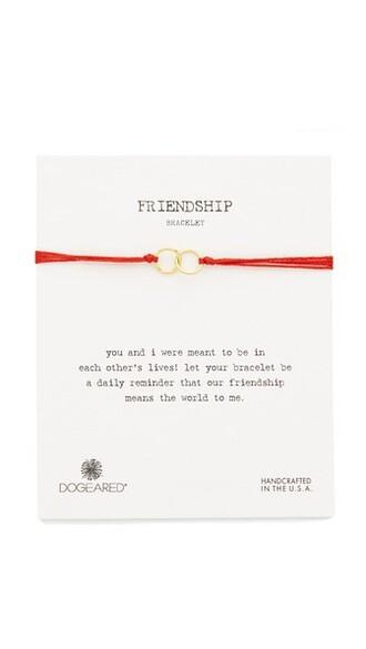 friendship bracelet gold red jewels