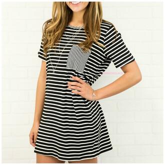 dress striped dress pocket short dress short sleeves amazinglace.com amazinglace black and white stripes