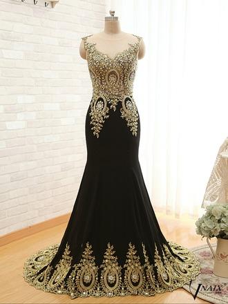 dress black dress black and gold dress gold dress prom dress embellished dress earphones