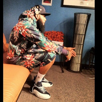jacket stally stalley mmg floral tank top flowered shorts floral jacket floral jersey fashion dope dopamine dope shit rapper walet wale menswear tropical