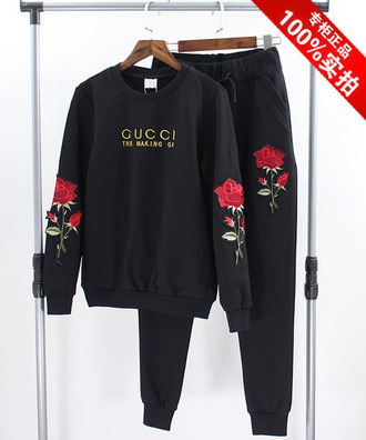 sweater gucci floral fashion style trendy black pants embroidered long sleeves