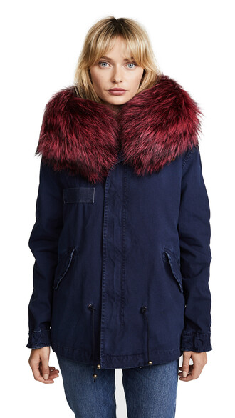 parka mini fur rose navy green coat