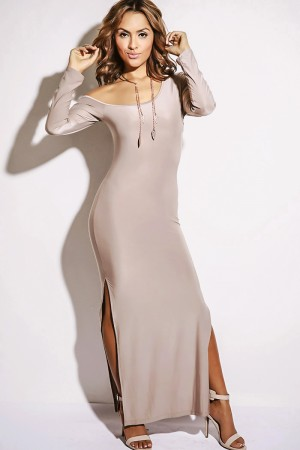 Trendy Cute mocha off shoulder one sleeve double slit fitted evening party maxi dress fo cheap | Affordable Clothing | 1015 store