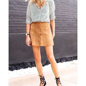 skirt,cotton candy la,suede skirt,button up skirt,tan skirt,70s style