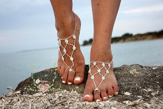 Crystal Barefoot SandalsBridal Swarovski Rhinestone AnkletFoot