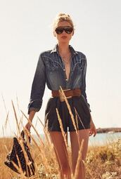 shirt,denim,denim shirt,elsa hosk,shorts,model,instagram,belt,sunglasses,celebrity