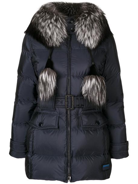 Prada jacket hooded jacket fur fox women blue