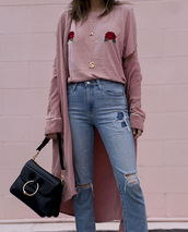coat,tumblr,bag,black bag,buckle bag,denim,jeans,blue jeans,ripped jeans,pink top,pink coat,necklace,gold jewelry,jewelry,roses,pink t-shirt,dusty pink,pendant,gold pendant,streetstyle,pink