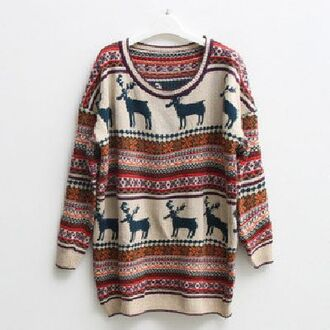 sweater winter outfits oversized deer cute