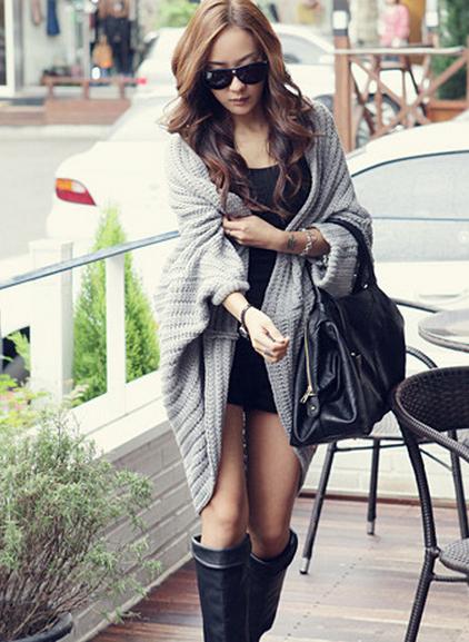Cute ms with batwing coat irregular knitting cardigan pallium knitted sweater cardigan