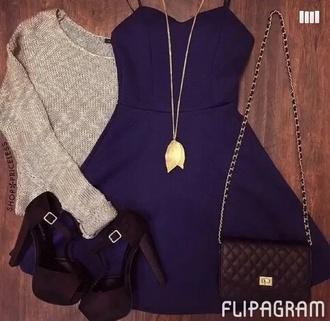 dress grey sweater blue dress sweater
