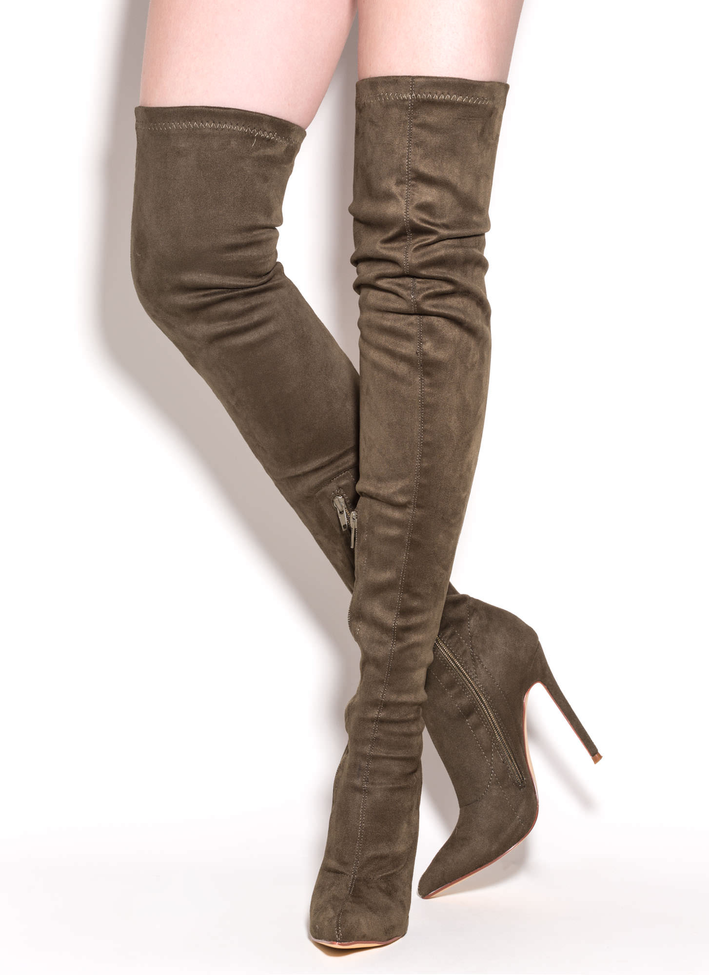 Story Chic Thigh-High Boots MAROON OLIVE - GoJane.com