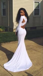 prom dress,white dress,white,white prom dress,dress,crossback,long sleeves,dress train,high neck,prom,evening dress,backless,criss cross,white slim long open back prom
