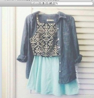 top boho dress corset top blue skirt denim jacket button up