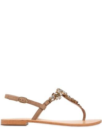 embellished sandals suede tan shoes