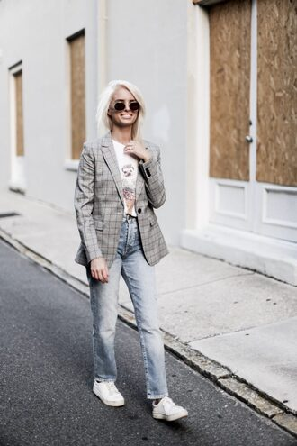 jacket tumblr grey jacket plaid plaid blazer checked blazer t-shirt denim jeans blue jeans sneakers white sneakers sunglasses