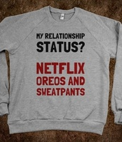 sweater,netflix,oreos,relationship,cute,funny,skreened,funny sweater,swag,red,oreo,sweatpants,grey,black,shirt,sweatshirt,quote on it,gray crew-neck,grey sweater,jacket