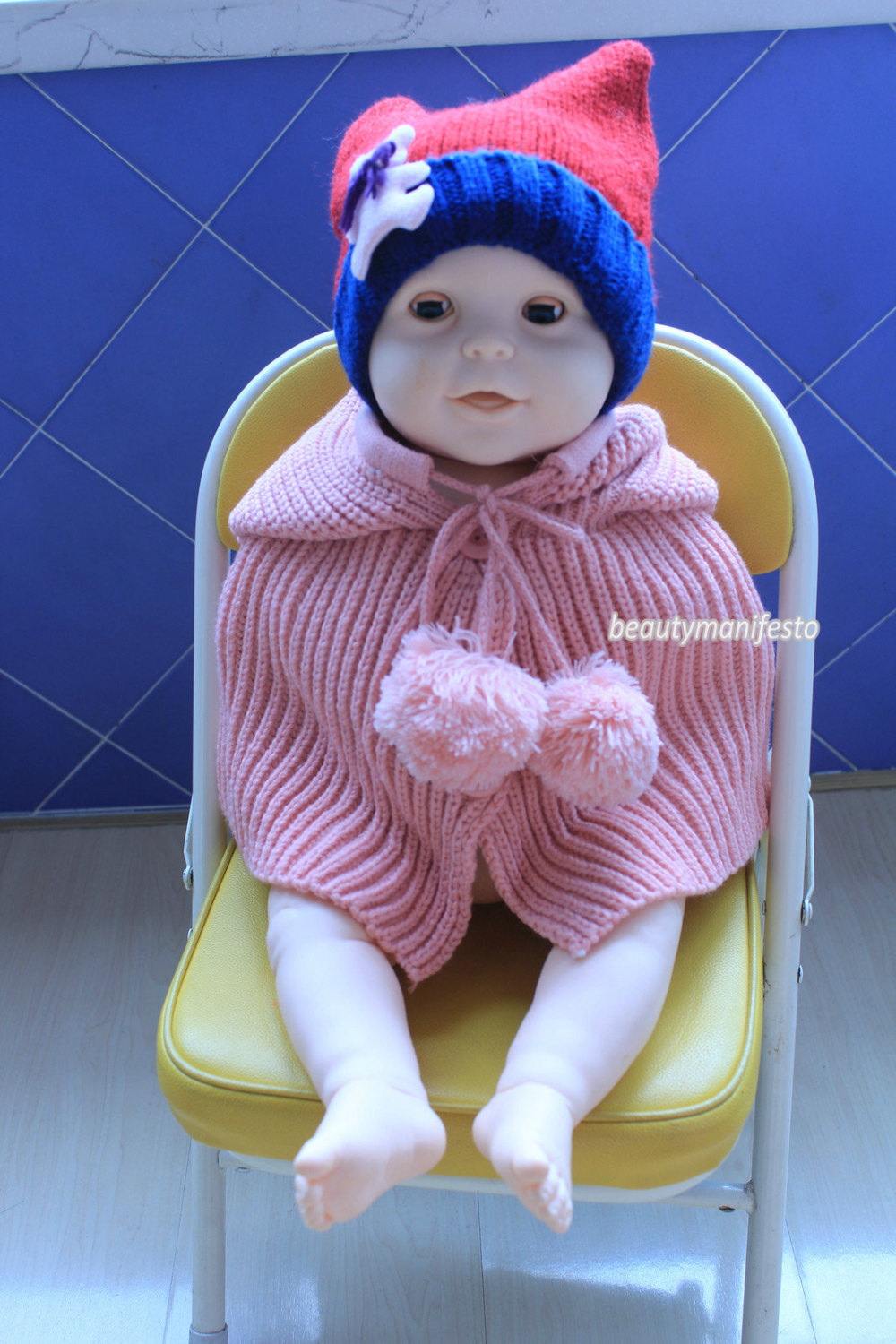 Hand knit baby poncho with hood,baby shower gift ,the pink hooded cowl ,pom