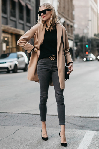 fashionjackson blogger coat sweater jeans shoes bag belt sunglasses jewels fall outfits gucci belt beige coat pumps skinny jeans grey pants camel coat tumblr camel top black top denim grey jeans pointed toe pumps