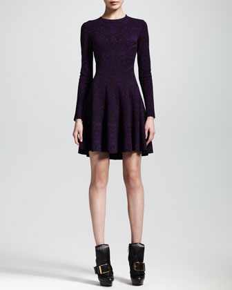 Alexander McQueen Lace Jacquard Long-Sleeve Circle Dress - Neiman Marcus