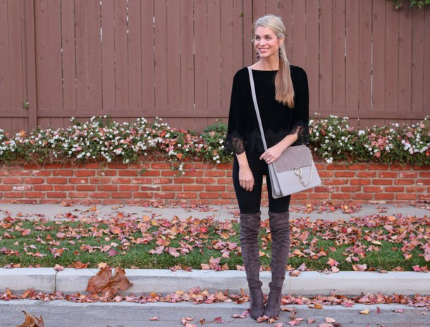 ashn'fashn blogger jewels top jeans shoes bag grey bag boots over the knee boots fall outfits