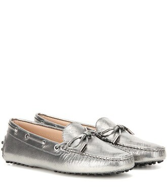 metallic loafers leather silver shoes