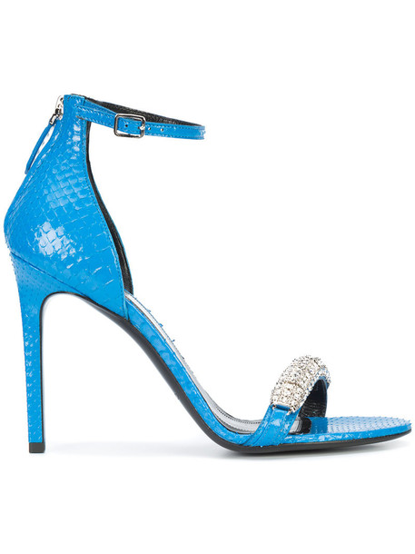 women python sandals leather blue shoes