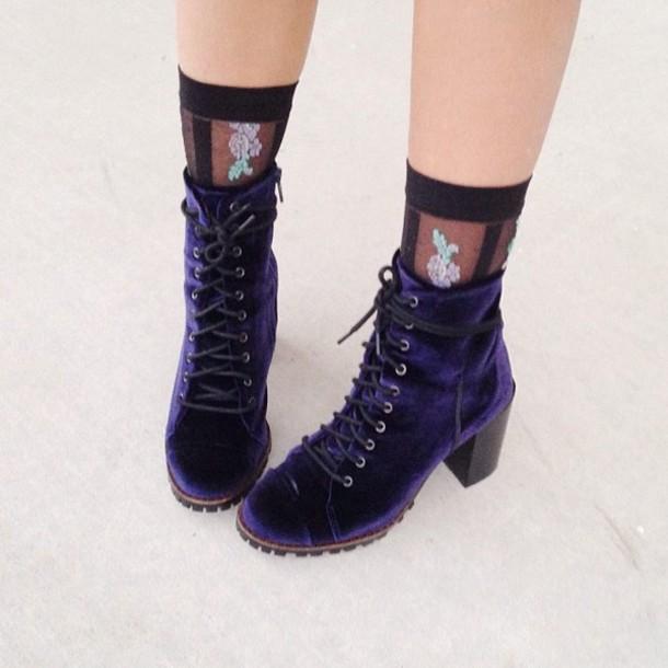 67fb9b2d3922d2 shoes velvet vintage velvet shoes boots velvet boots crushed velvet blue  navy navy blue boots suede