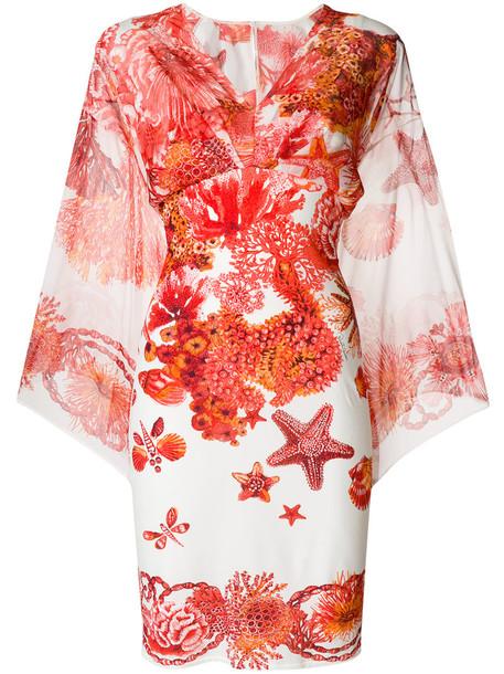 Roberto Cavalli dress print dress women spandex print silk coral red