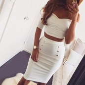 skirt,twinset,top and skirt,set,bandage,bodycon,cropped,gold,white,cream,sexy,bandage skirt,bodycon skirt