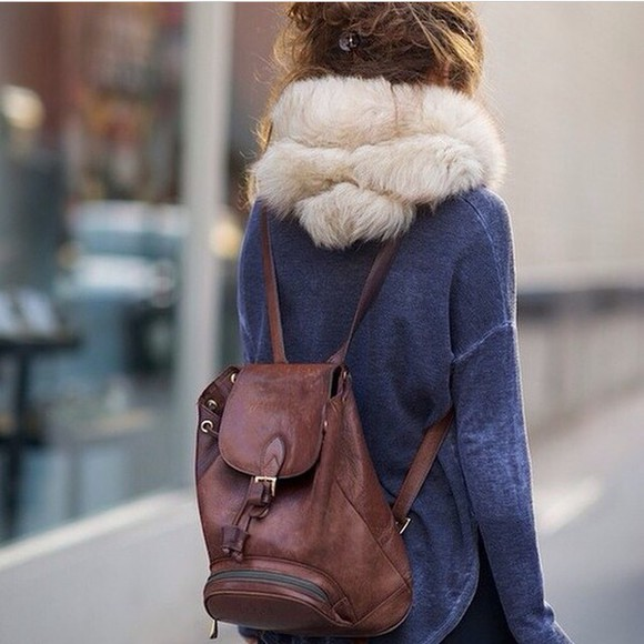 scarf leather backpack faux fur