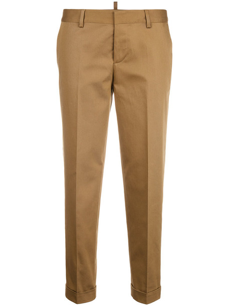 cropped women spandex cotton brown pants