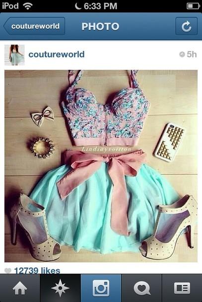 shirt dress skirt jewels shoes floral mint pink belt blouse top crop tops cute top cute skirt style iphone cover high heels girly girl