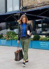blogger,shoes,pants,bag,jacket,top,black leather jacket,louis vuitton bag,khaki pants,sneakers,spring outfits