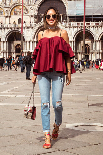 sunglasses red off shoulder top ripped jeans red strappy heels blogger round sunglasses
