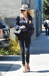 blouse,jeans,sandals,rosie huntington-whiteley,hat,purse,streetstyle,model off-duty,polka dots