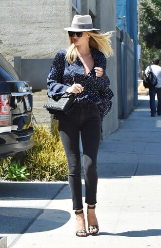 blouse jeans sandals rosie huntington-whiteley hat purse streetstyle model off-duty polka dots