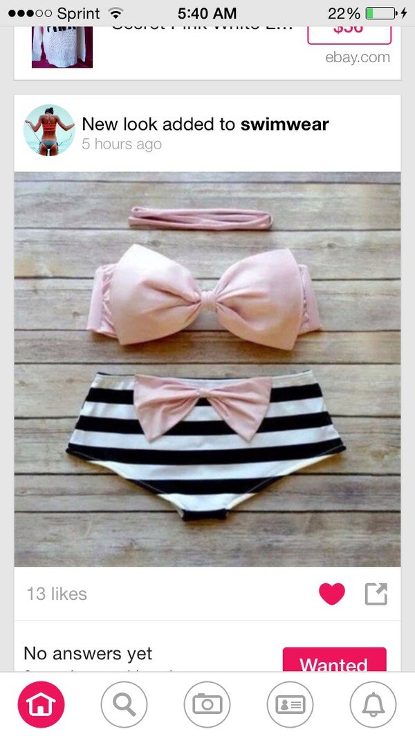 swimwear bow pink black white