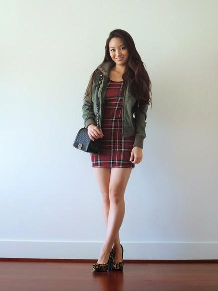 jacket blogger bag khaki sensible stylista tartan