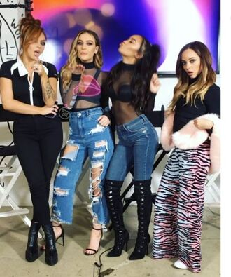jeans ripped jeans top sandals little mix perrie edwards jade thirlwall leigh-anne pinnock jesy nelson blouse