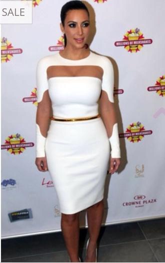 dress gold belt white dress kim kardashian dress mesh dress