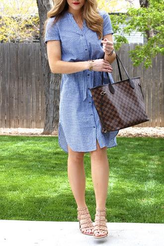 polishedandpink blogger dress shoes bag sunglasses jewels tote bag louis vuitton bag shirt dress blue dress sandals summer outfits
