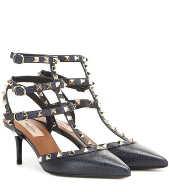 Valentino pumps leather blue shoes